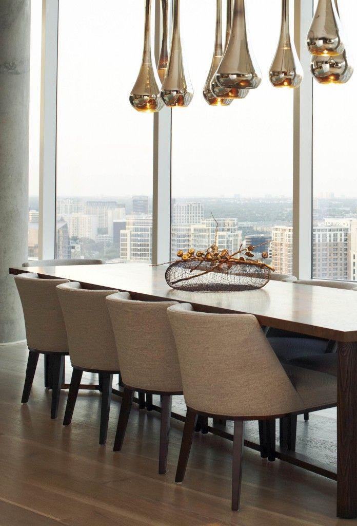 linen dining set   gold teardrop light fixture   Interior ...