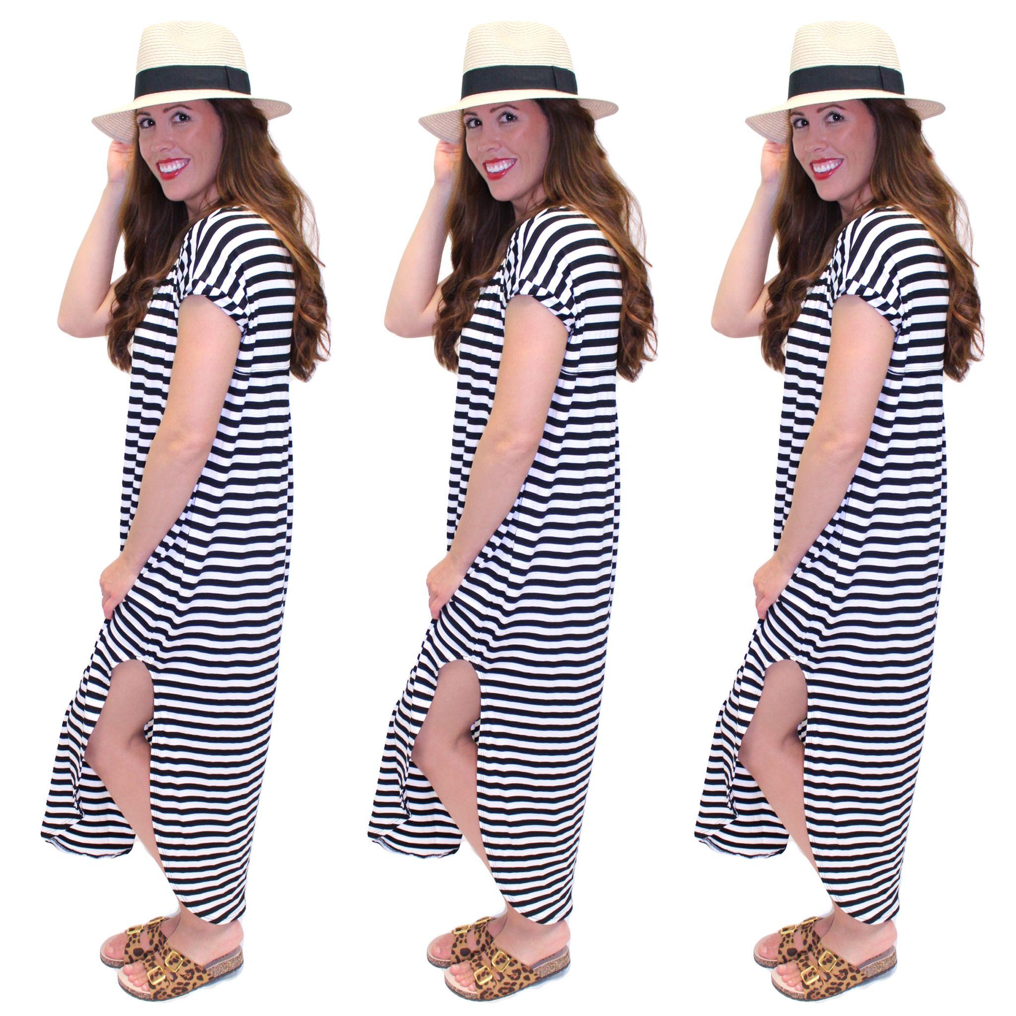 ::Summer Stripes:: Brooklyn Striped Maxi $42. (Online & In Store) Panama Hat $22. Leo Buckled Flat $38. (Online & In Store) #stripes #maxi #leopard #summer