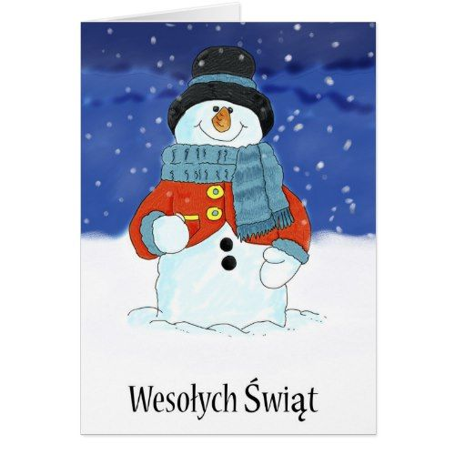 Wesołych Świąt Polish Snowman Season's Greetings Holiday Card | Zazzle.com