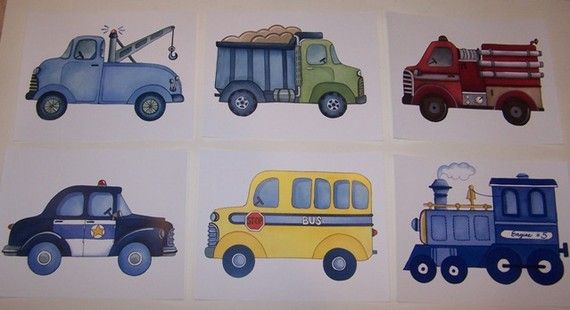 transportation cars construction trucks train by theprincessandpea, $28.00