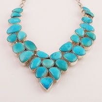 Blue Arizona Turquoise Sterling Silver Necklace