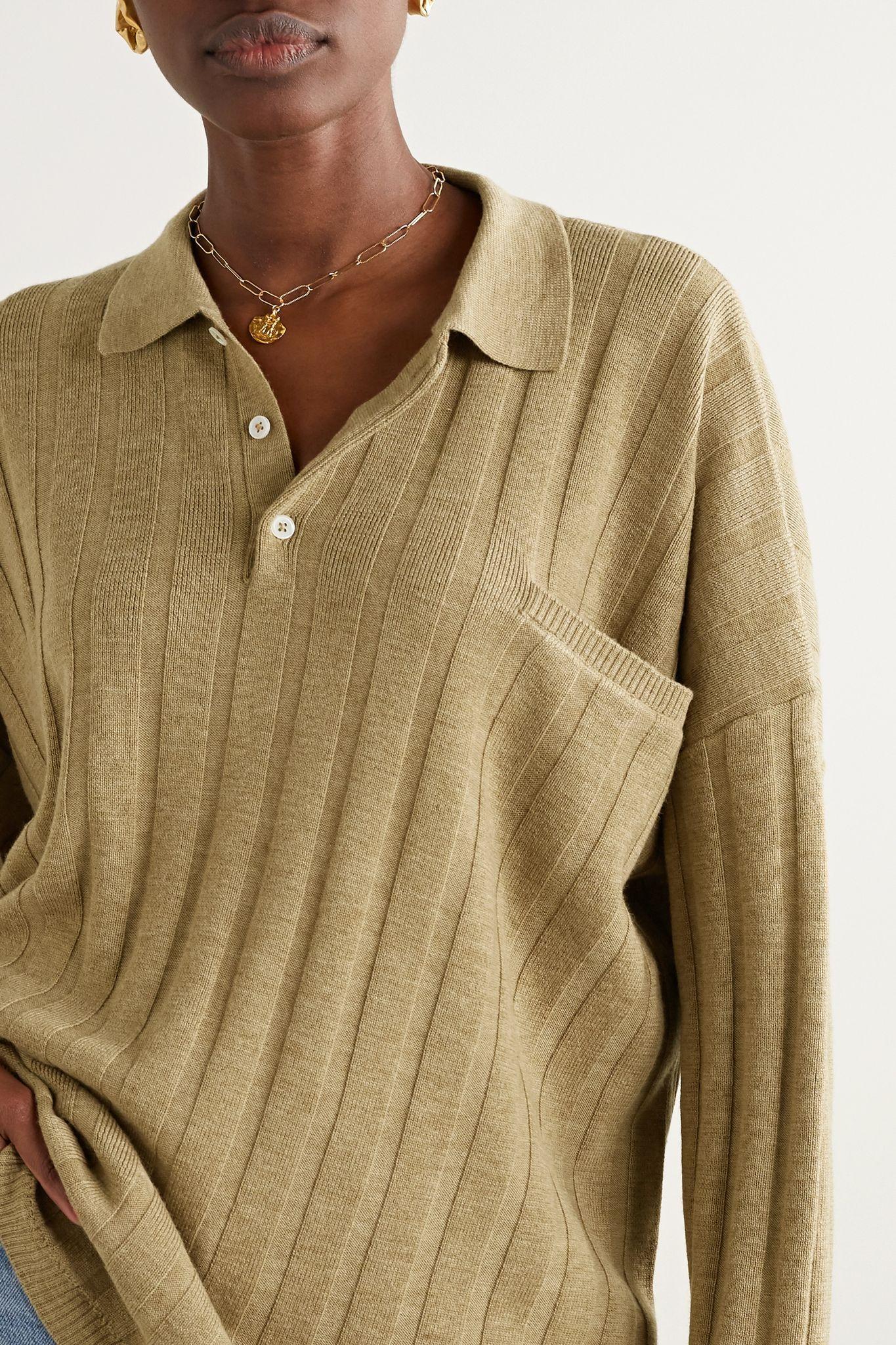 Tan Bonifacio Oversized Ribbed Merino Wool Sweater Toteme In 2020 Merino Wool Sweater Sweaters Wool Sweaters