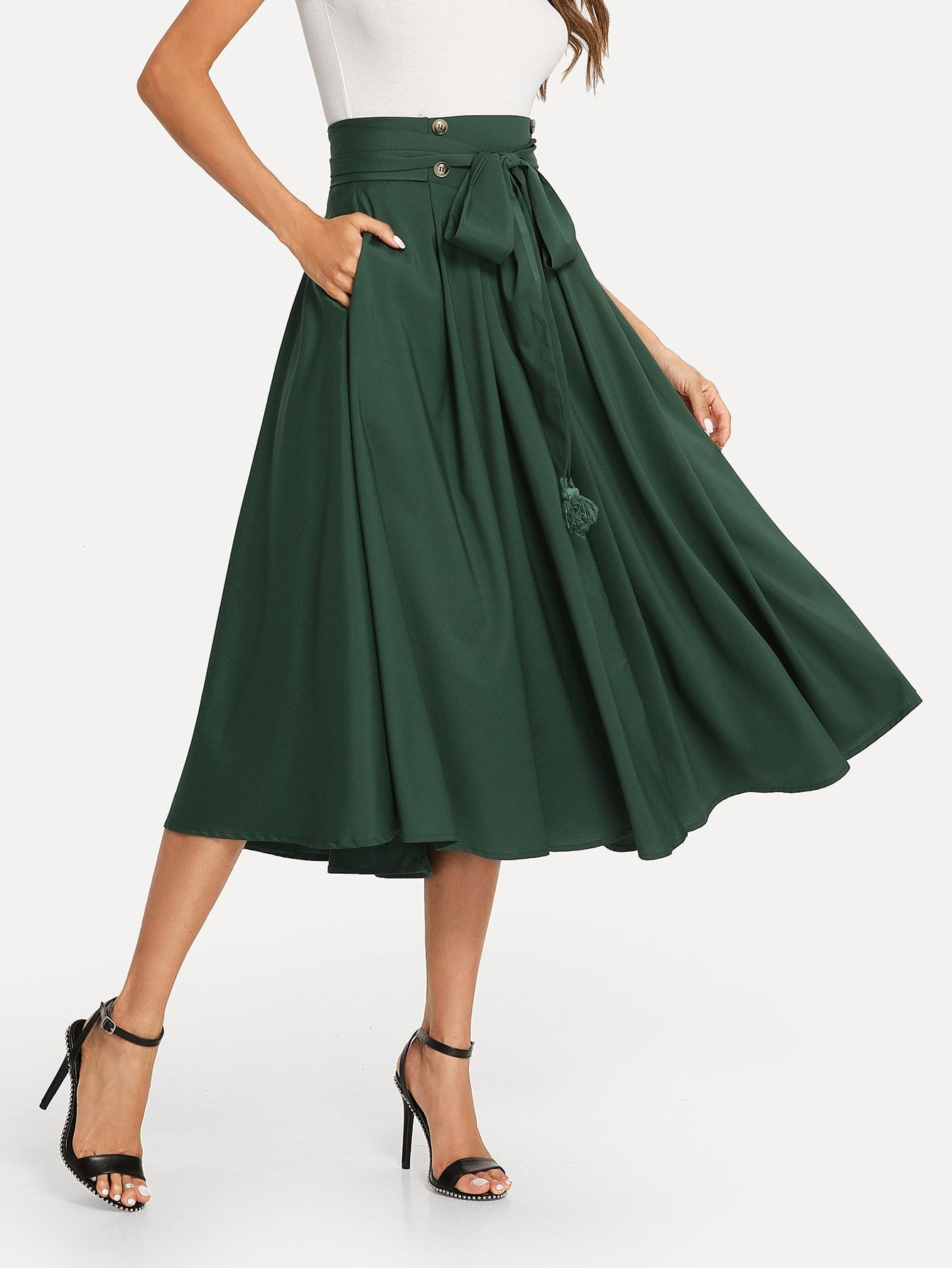 b953e3c0de87f9 Elegant A Line Plain Flared High Waist Green Long/Full Length Tassel Bow  Tie Waist Pocket Side Pleated Skirt with Belt