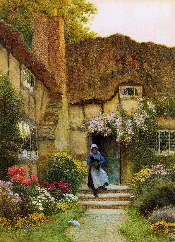 Arthur Claude Strachan (British, 1865-1932) - At the cottage door ...