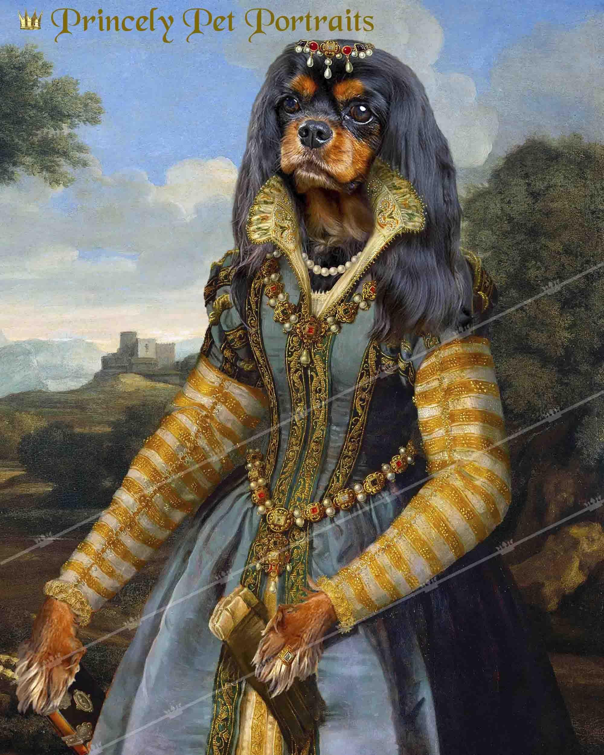 Renaissance Custom Female Pet Portrait Using Your Photo Cat Etsy Pet Portraits Dog Artwork Anthropomorphic
