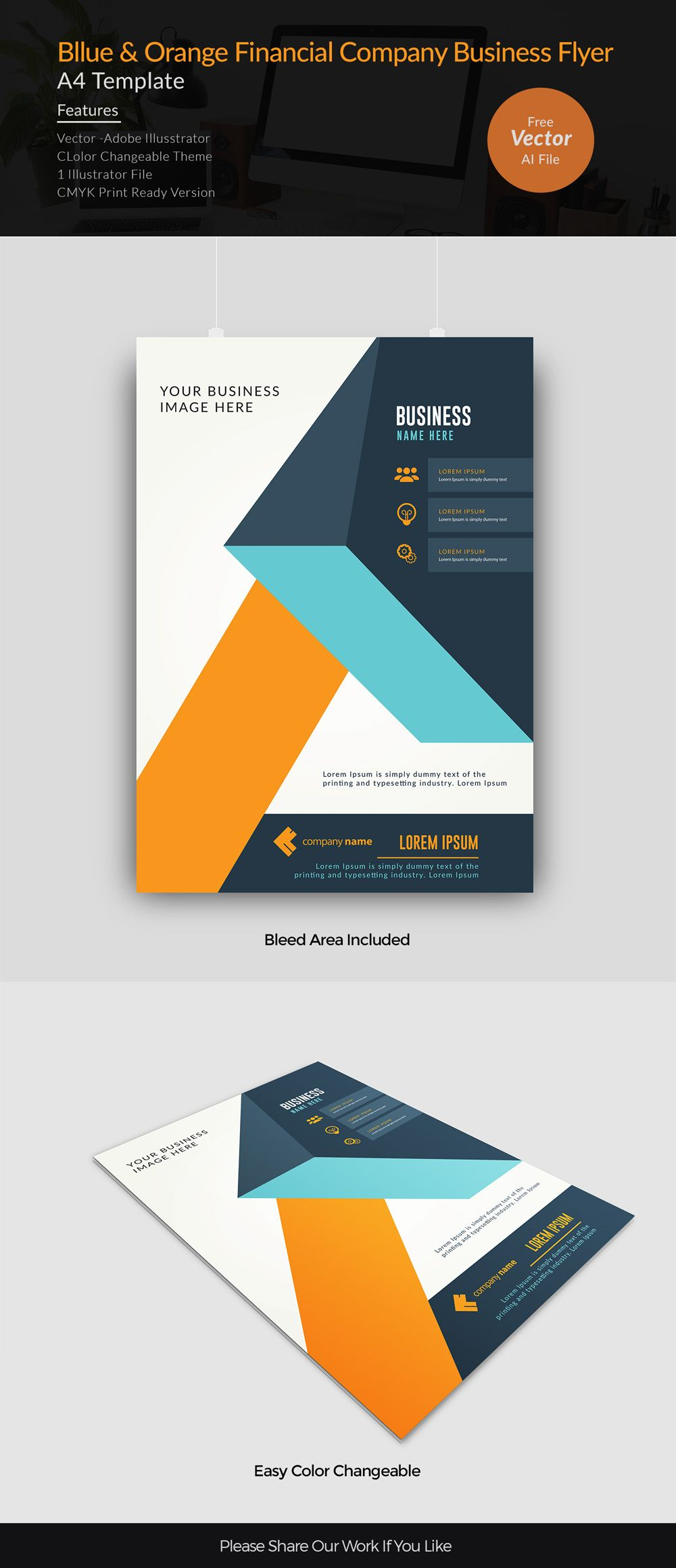blue and orange finance company flyer template free vector ...