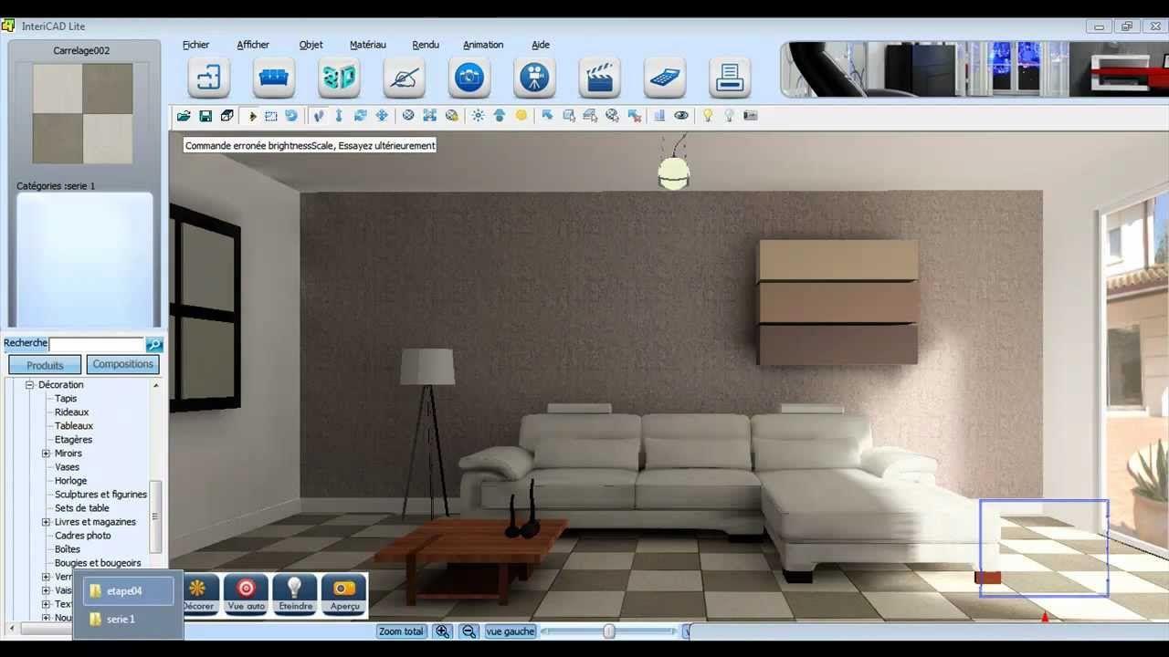 Architecte Interieur 3D Gratuit démonstration 3d sur intericad lite. www.logicieldeco.fr
