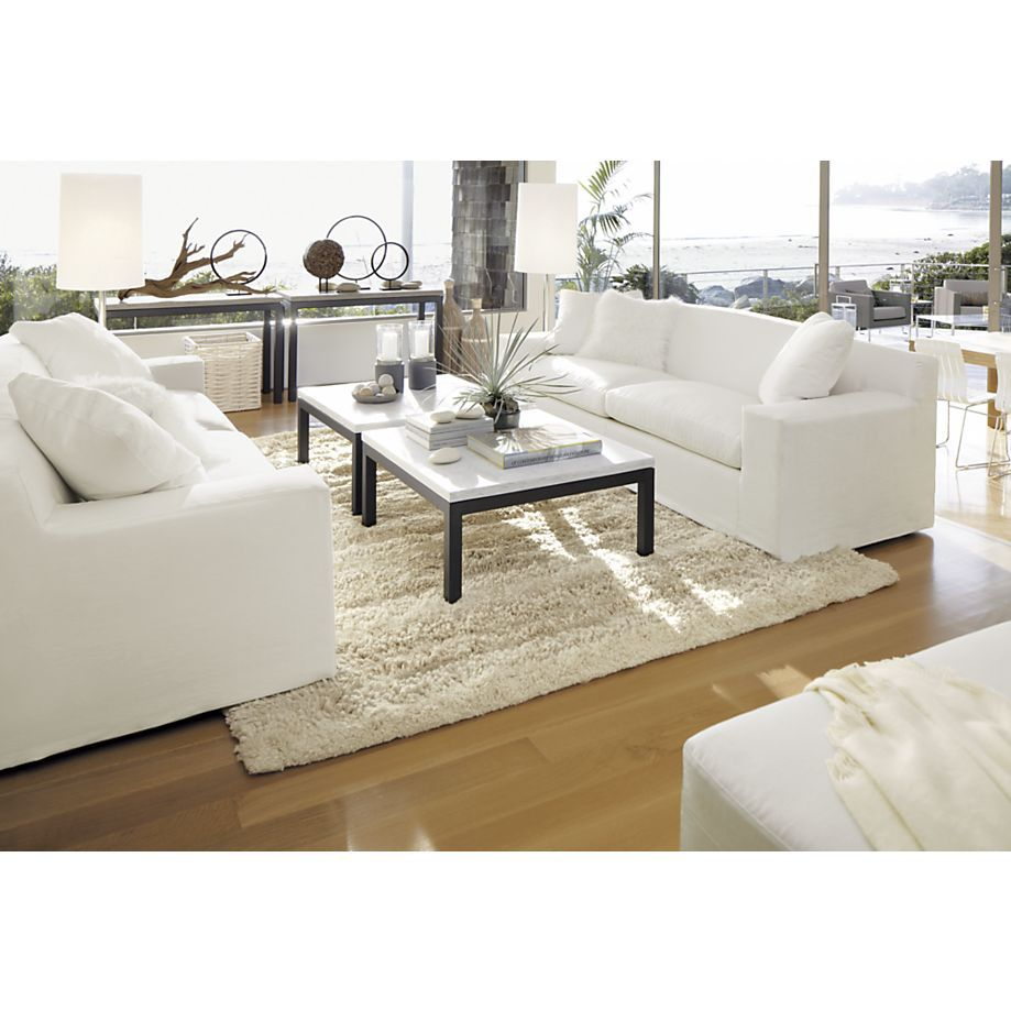 Parsons square coffee table with travertine top in coffee