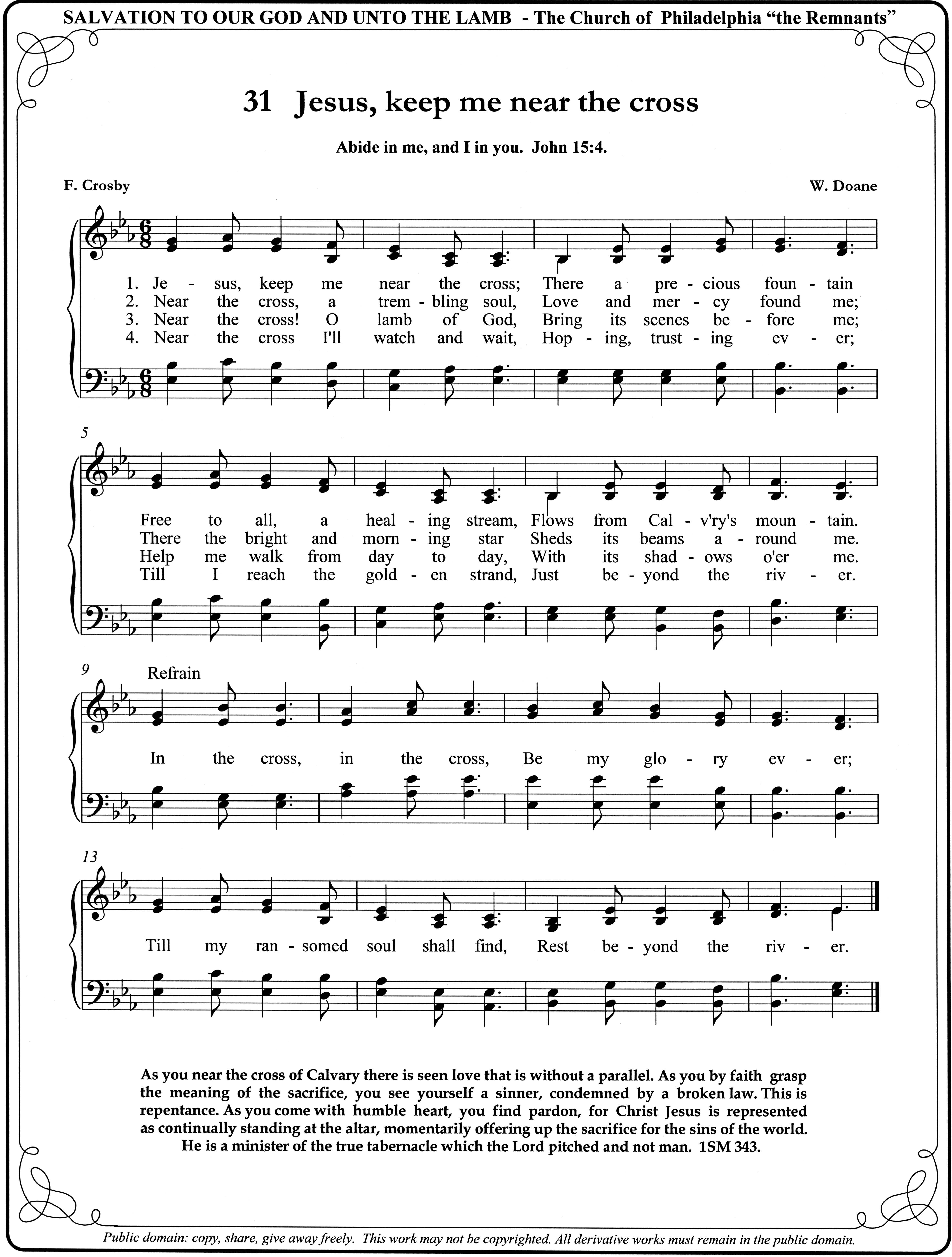 Jesus Keep Me Near The Cross Christian Song Lyrics Hymn Sheet