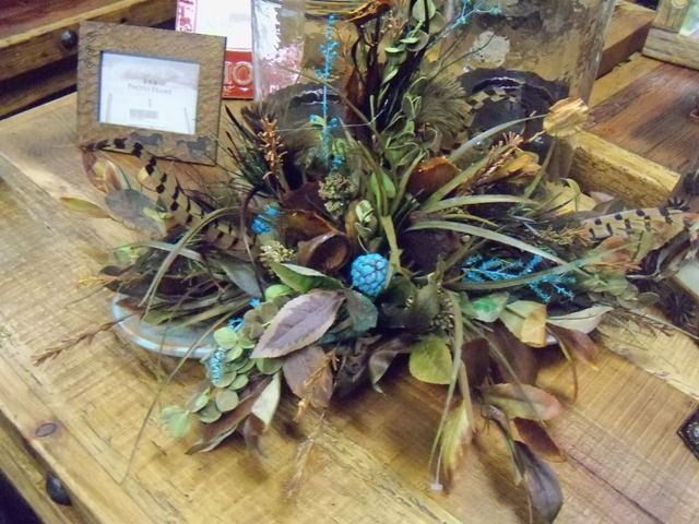 Florals in wood bowl. Great accent piece