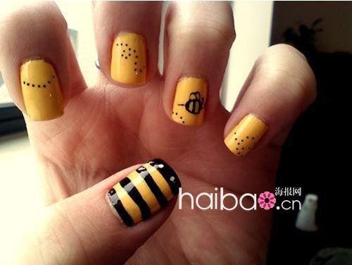 Bee Themed Nail Art Design Bee Birthday Pinterest