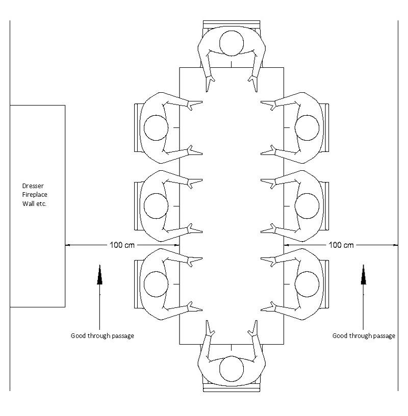 Ideal space around dining table drawing technical for Dining room table dimensions