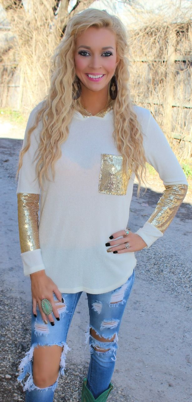 Ivory and Gold Trim Hoodie - The Lace Cactus Enter code ASHLEYH10 at ched hot for 10% off