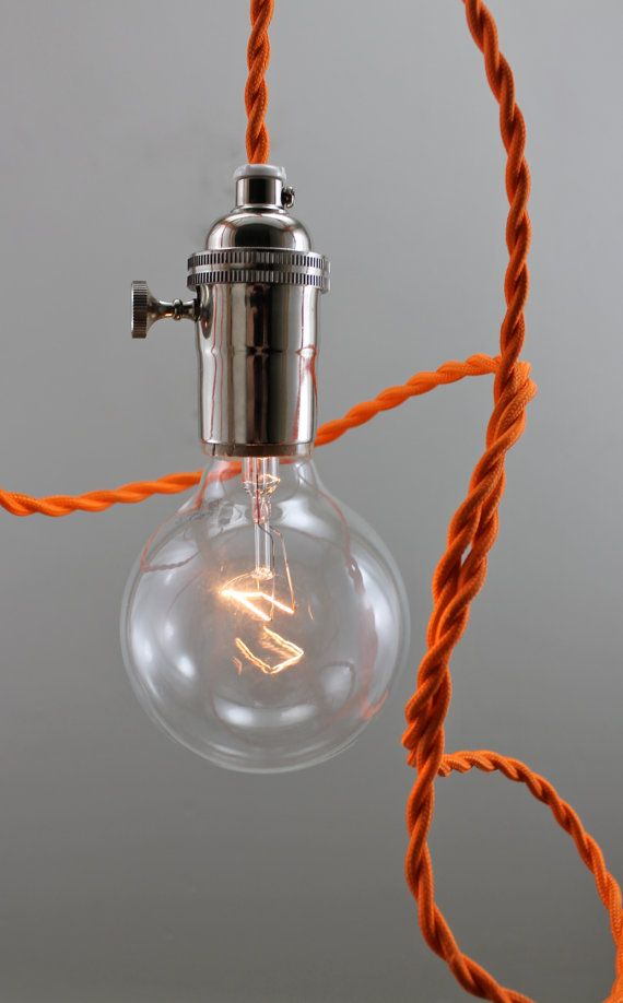 Mod Orange Bare Bulb Pendant Lighting