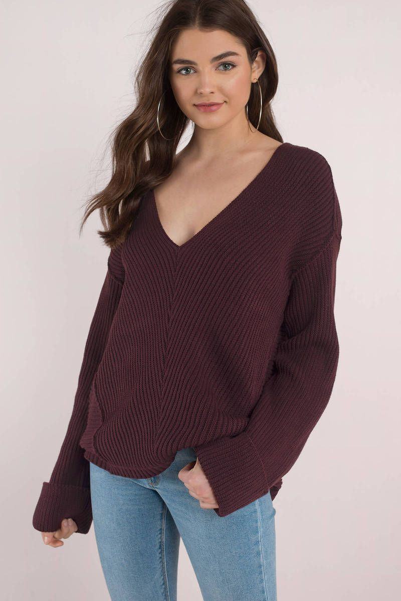 How Deep V Neck Wine Sweater