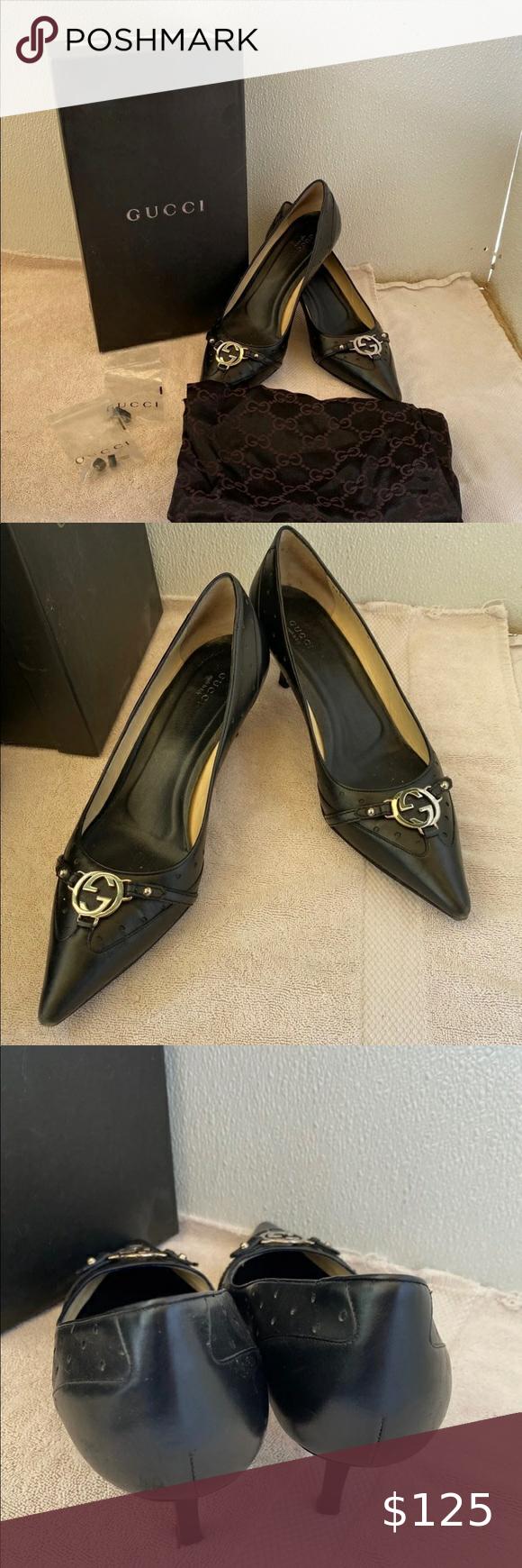 Gucci Authentic Ladies Black Kitten Heel Pumps 10 In 2020 Black Kitten Heels Kitten Heel Pumps Black Leather Pumps