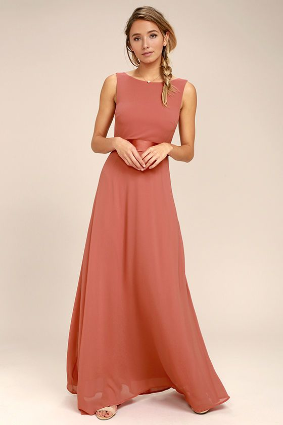 f1c54c648a Special occasions call for That Special Something Rusty Rose Maxi Dress! Elegant  chiffon fabric forms