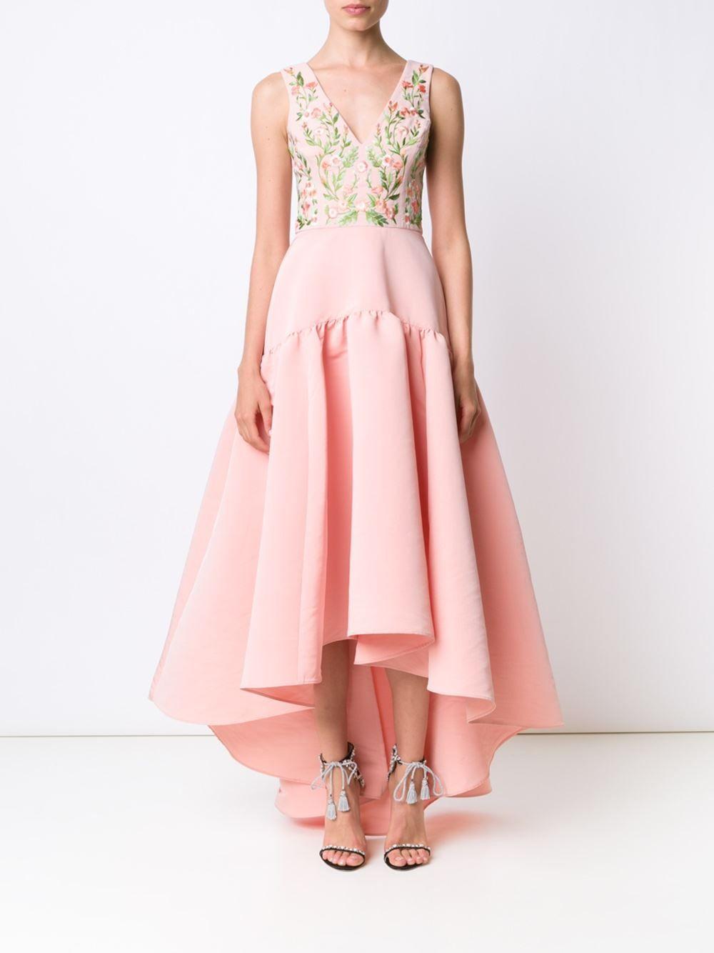 Marchesa Notte embroidered flower gown   - FARFETCH -   Pinterest ...
