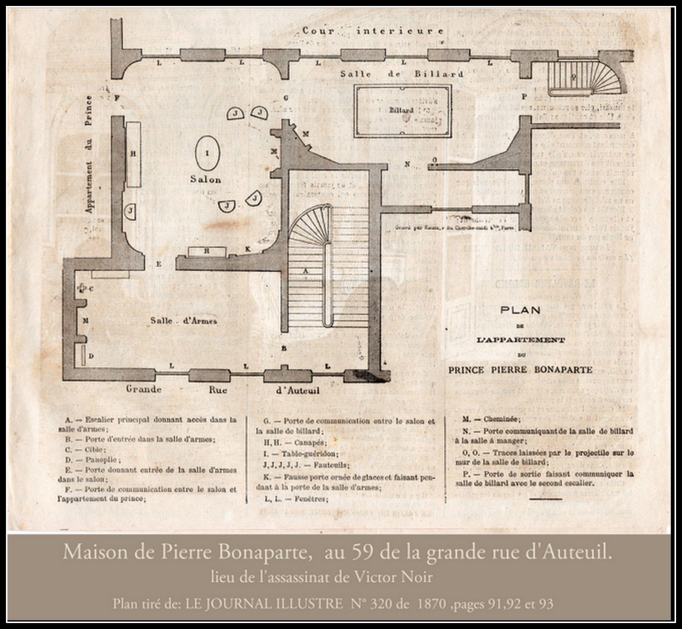 Plan de la maison de pierre bonaparte à auteuil lieu de lassassinat de