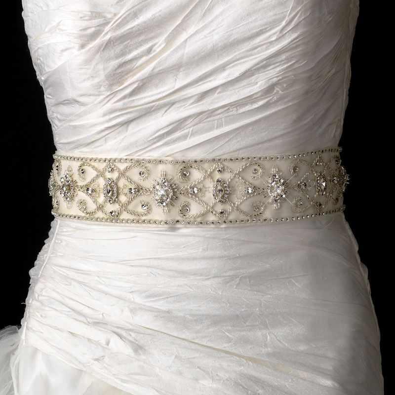 Stunning Swarovski Crystal Rhinestone And Bugle Beaded Royal Bridal Belt Sash Size Design