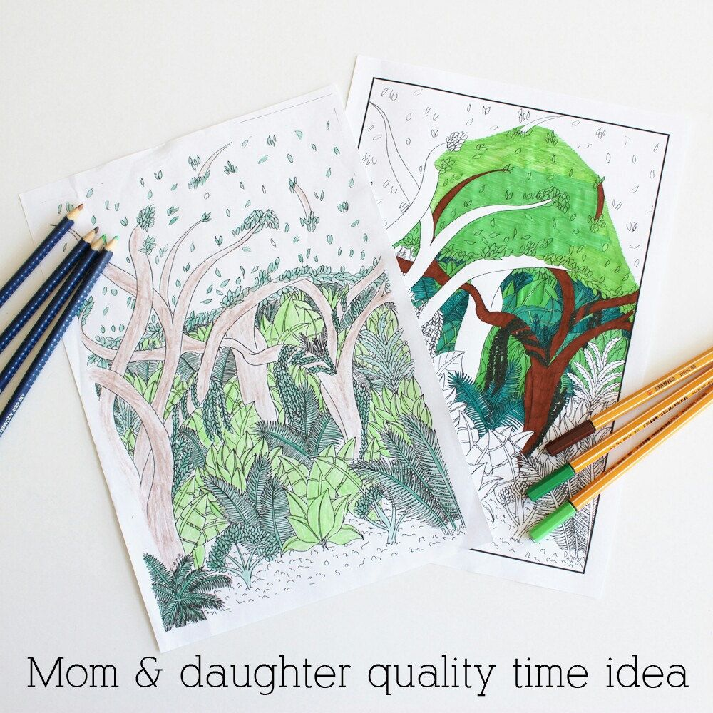 Green forest printable coloring page, great nature lovers gift as ...