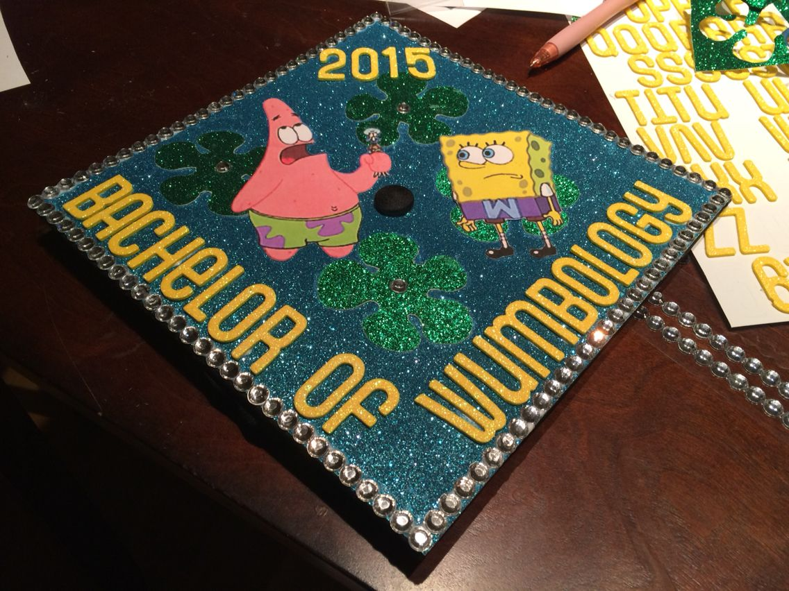 Spongebob Themed Mortar Board Decorations College Grad August