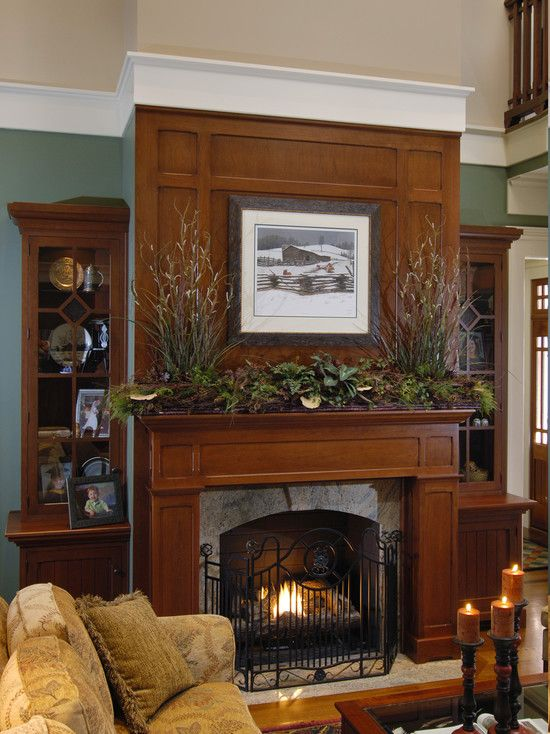 Living Room Cherry Fireplace Design Pictures Remodel