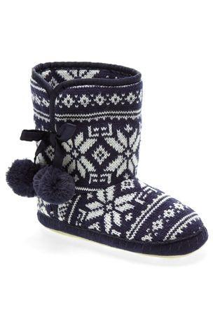 Buy Navy Fairisle Pattern Slipper Boots (Older Girls) from the ...