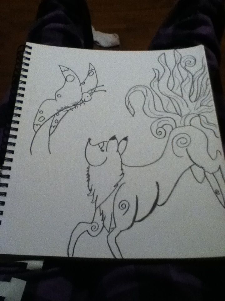 Fox and butterfly before color- Megan Szczudlik