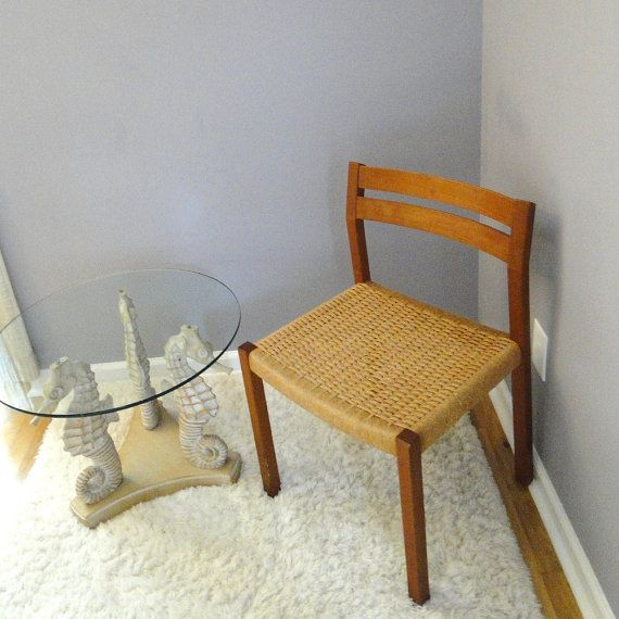 Vintage Chair Danish Modern JL Moller Rope Dining Mid Century Woven Cord Seat Eclectic Home Furnishing
