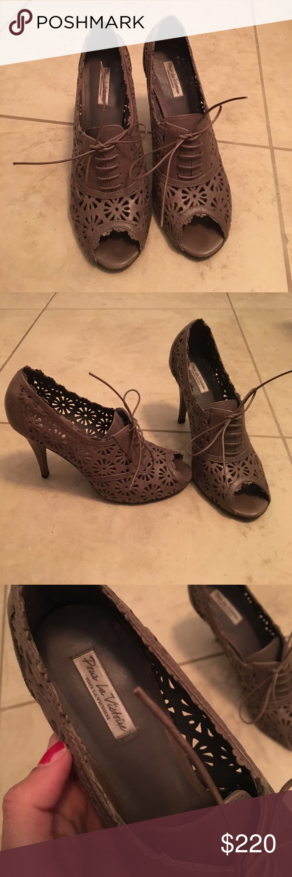 Pour la Victoire women's grey pumps Beautiful pair of shoes. Gently used a handful of times. Very very comfortable. Pour la Victoire Shoes Heels