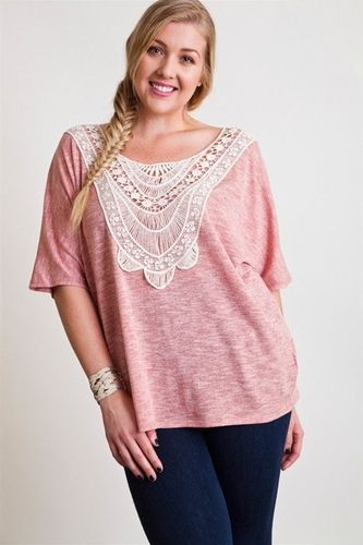 Crochet-front pink top with dark jeans