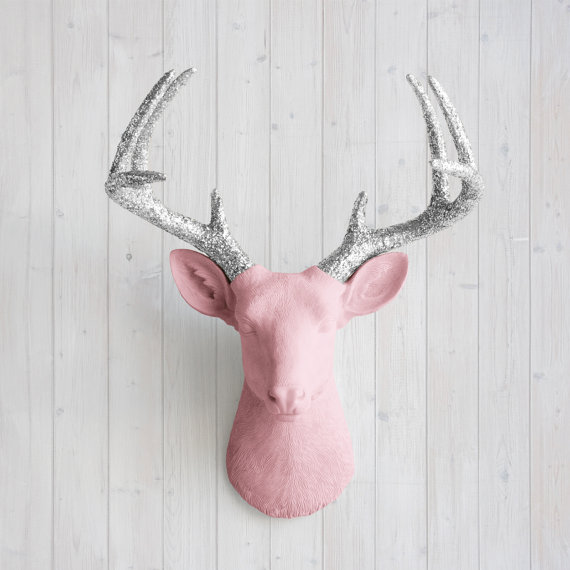 Wall Charmers™ Deer in Blossom Silver Glitter by WallCharmers