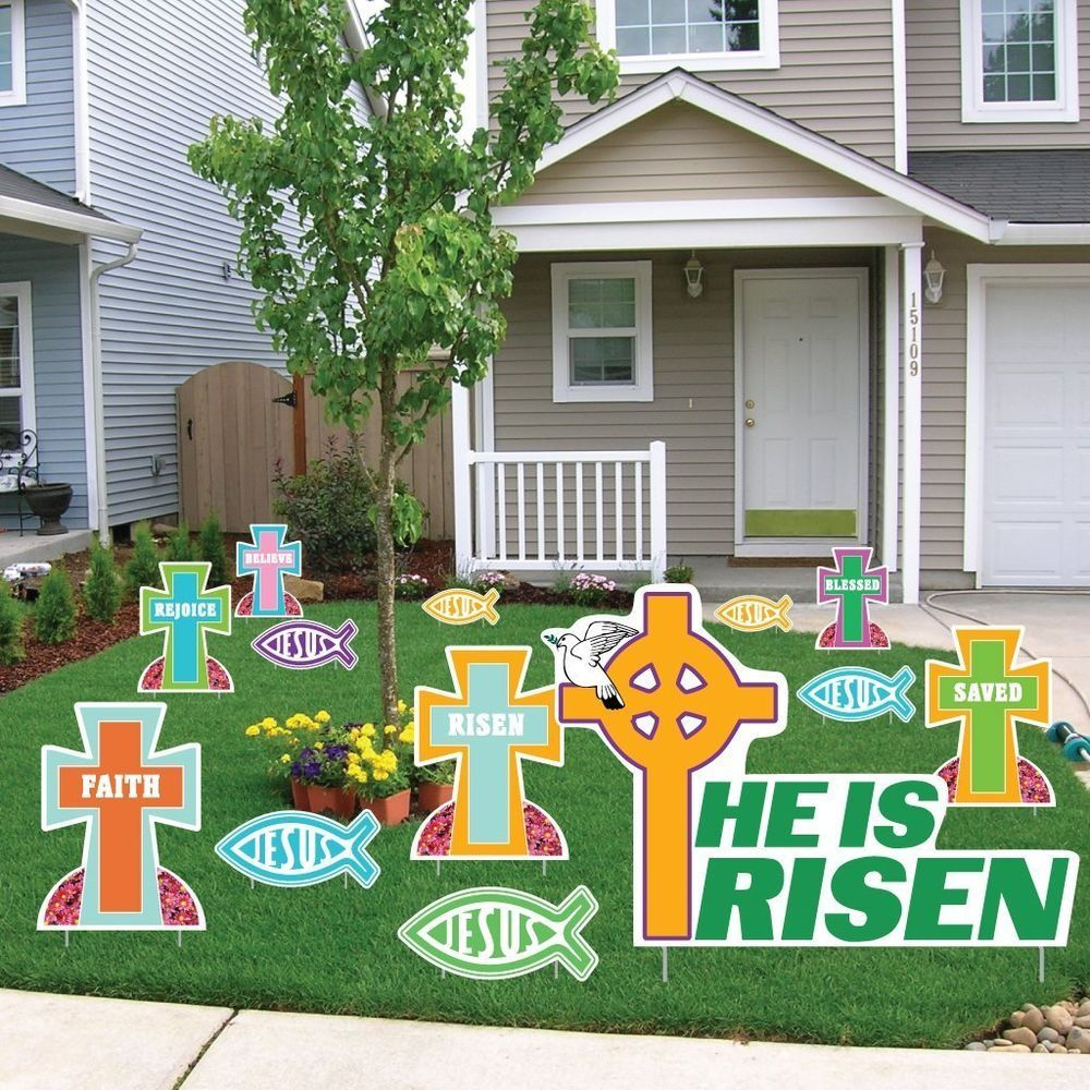 Religious easter yard decorations - Outdoor Easter Religious Holy Cross Stake Sign Yard Art Lawn Display Decoration Unbranded