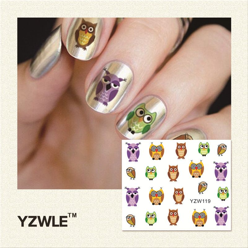 YZWLE 1 Pc Cute Owl Printing Water Transfer Tips Stickers For Nail ...