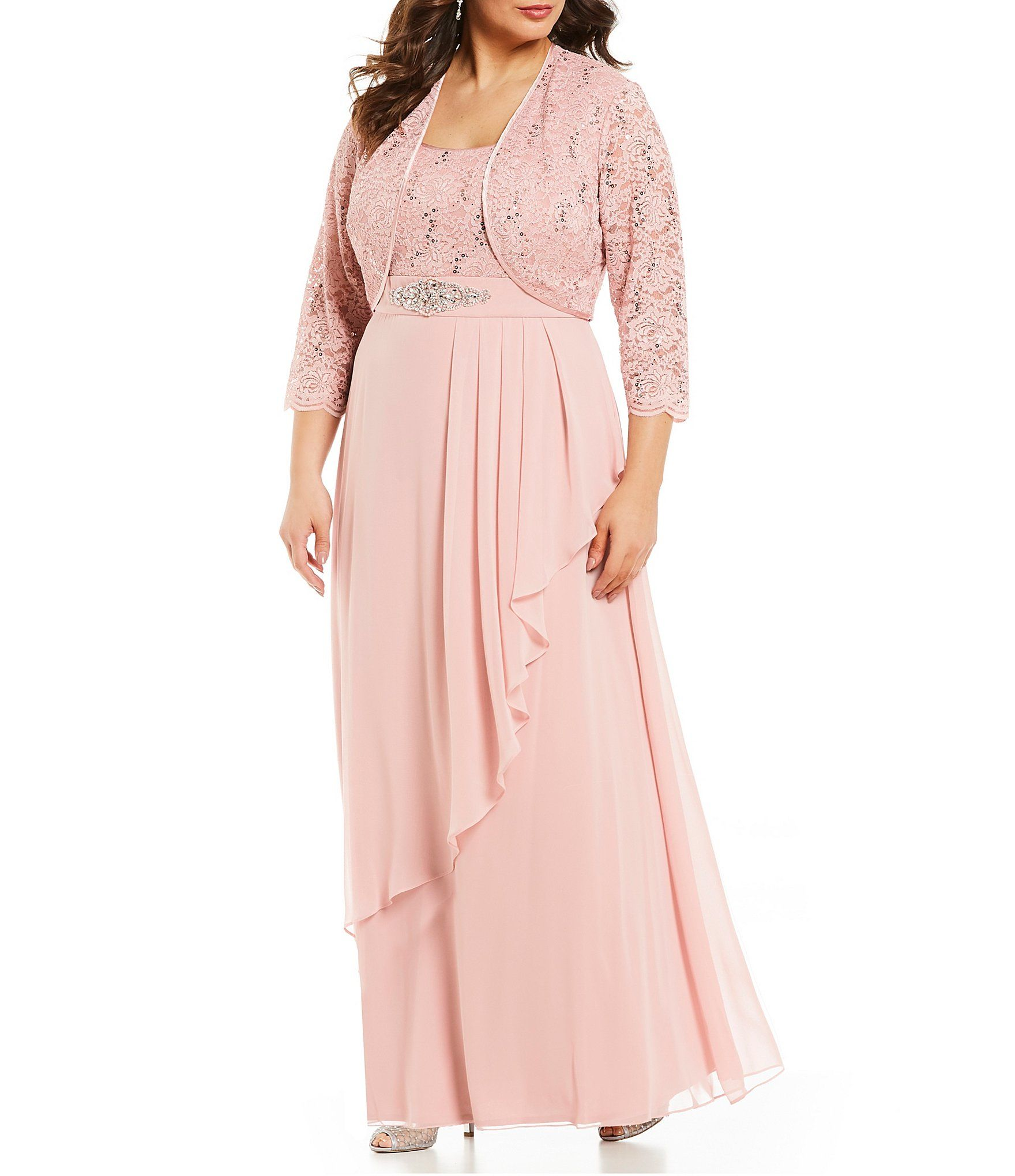 35020c1317c9 Jessica Howard Plus Size Sequin Lace Embellished Waist Drape Front Long  Jacket Dress #Dillards