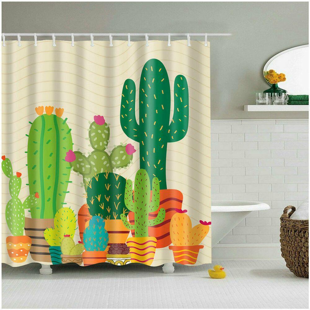 Details About Shower Curtain Art Bathroom Decor Plants Cactus