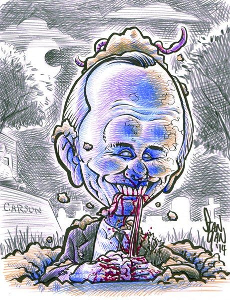 Johnny Carson Zombified. The original reward was taken, but many other celebs are still available through April 6th at 5:30 pm MST https://www.kickstarter.com/projects/stanyan/vincent-price-comic-book-caricature-project