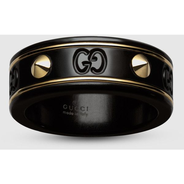 de82ce64bb Gucci Icon Ring With Studs In Yellow Gold And Black Corundum ($620 ...