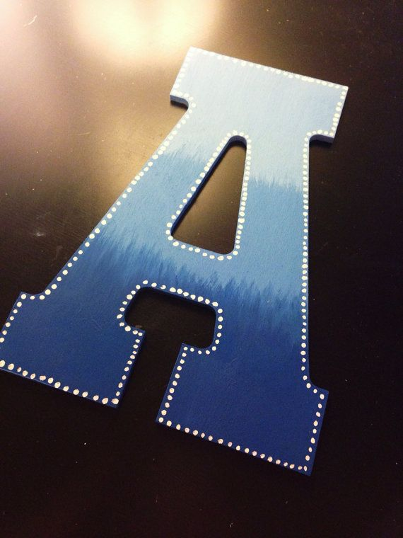 Blue Ombre Hand Painted Wooden Letter With By Creativexelegance 14 00 Painting Wooden Letters Wooden Letters Diy Wooden Letters Decorated