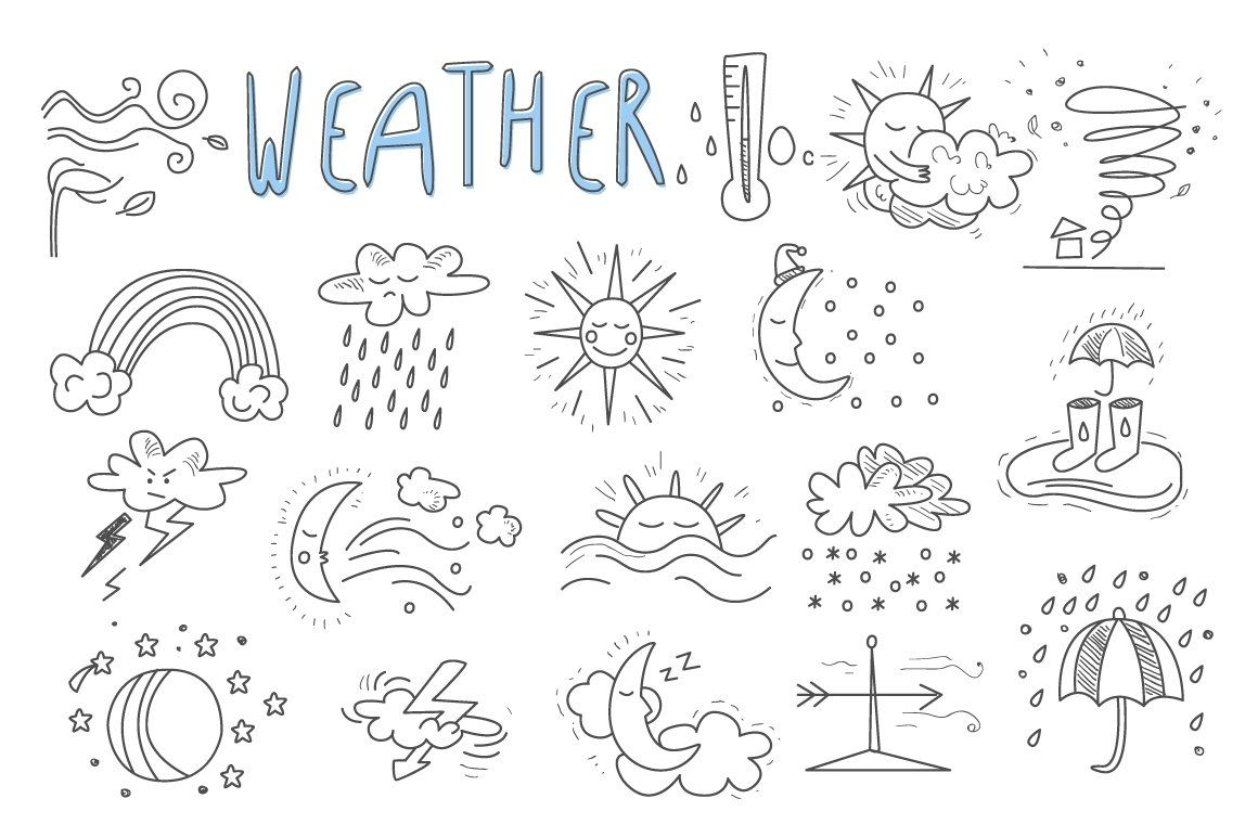 Hand Drawn Cartoon Weather How To Draw Hands Pattern Coloring Pages Weather Art