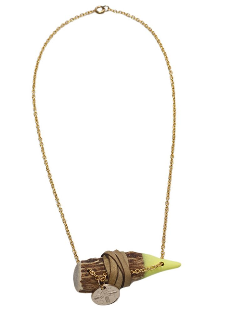 Honey Rose & K Women's Yellow Antler with Leather Band and Coin Necklace