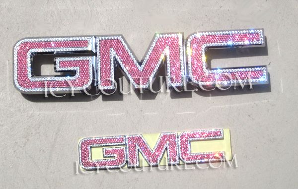 1881 Bedazzled Crystal Gmc Emblem Most Models Pink Truck