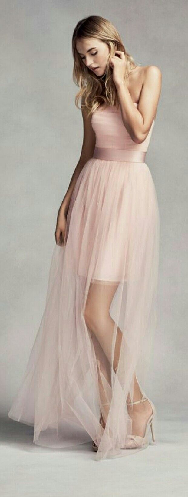 Pin by ansie de wet on all things pink and pinky shades pinterest style and color tulle short bridesmaid dress with illusion overskirt blush pink 12 ombrellifo Choice Image