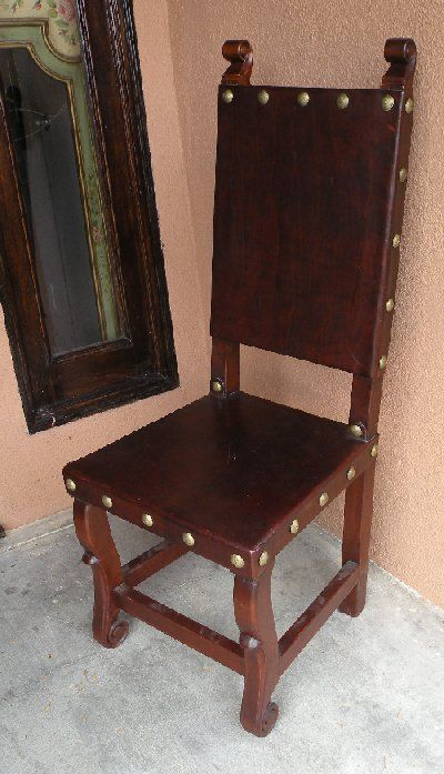 Spanish Colonial Dining Leather Side Chair Mexican Furniture Hacienda Style Colonial Chair Mediterranean Chairs
