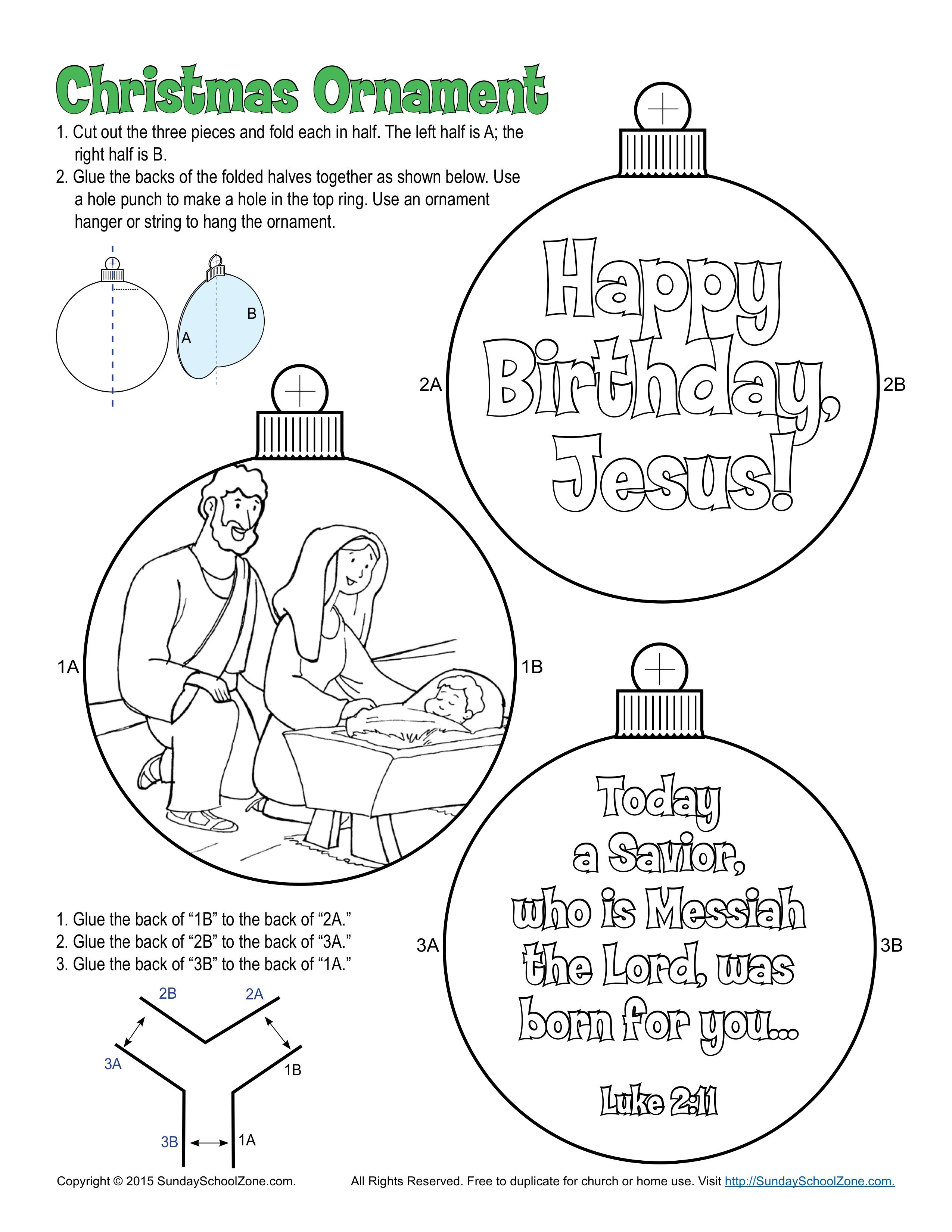 Mary And Joseph Christmas Ornament Colorable