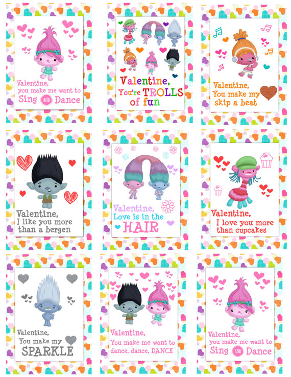 18 Cute Trolls Printable Valentines Cards For Kids – Creative Valentine Cards for School