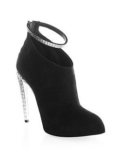 Giuseppe ZanottiCrystal Ankle Strap Suede Booties