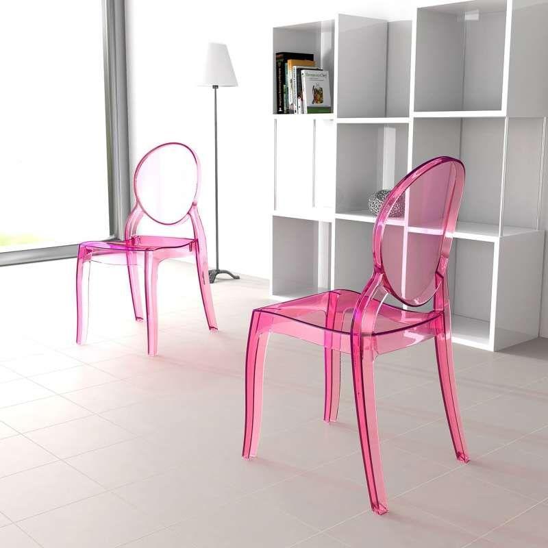 Chaise médaillon transparente en polycarbonate Elizabeth