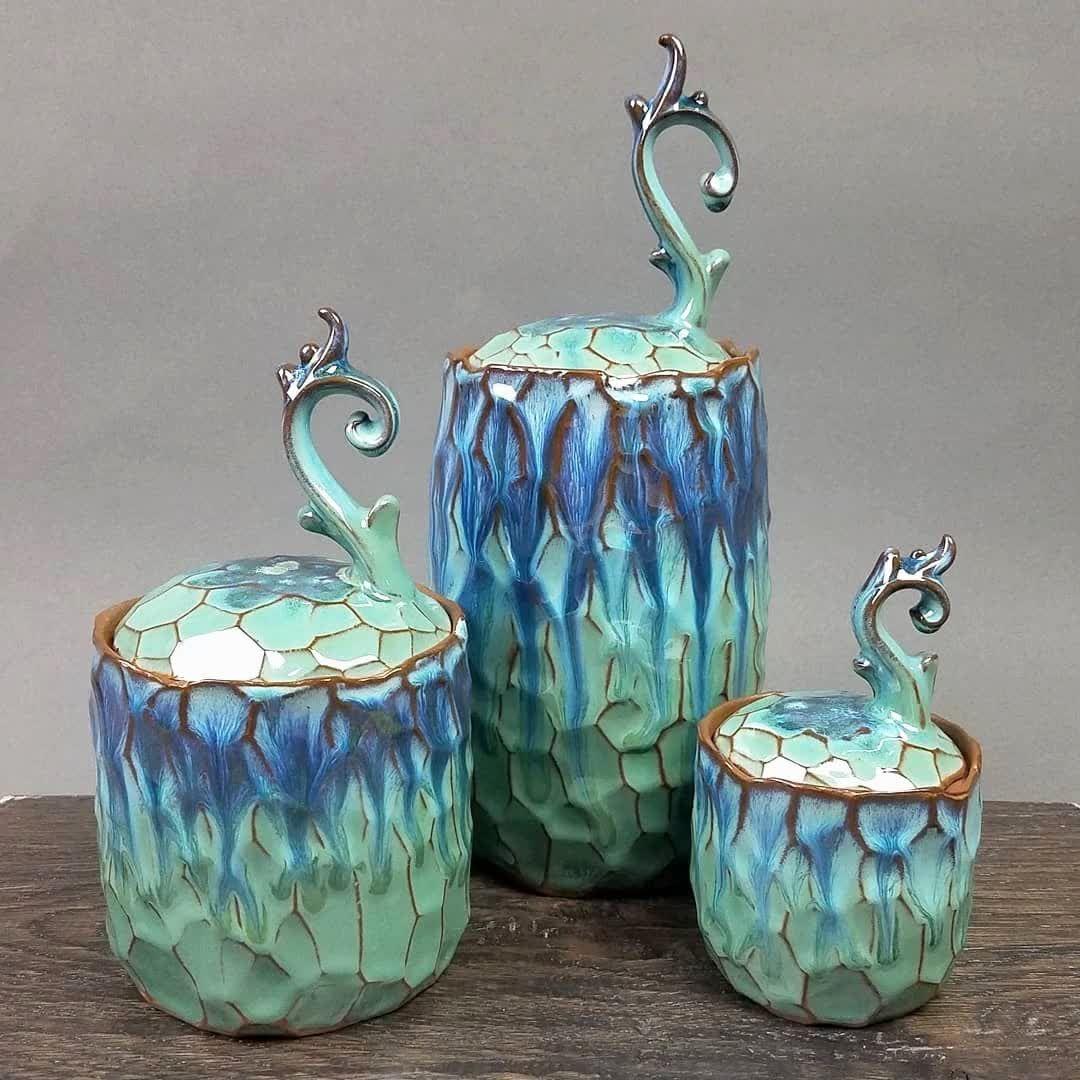 Hand made Raku ceramic favors unique pieces